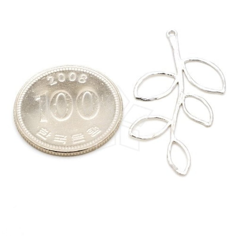 Matte Silver Plated over Brass  19mm x 39mm Branch Lead Pendant Thin Line Leaves Connector AC-202-MS  2 Pcs