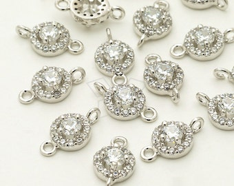AC-589-OR / 2 Pcs - Full Glittering Vintage Round CZ Connector, Silver Plated over Brass / 6mm x 10mm