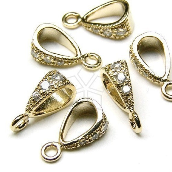 PS-040-GD  4 Pcs Pendant Bail Connector Gold Plated over Brass  10mm Necklace Findings Simple Bail with a Seed Motif