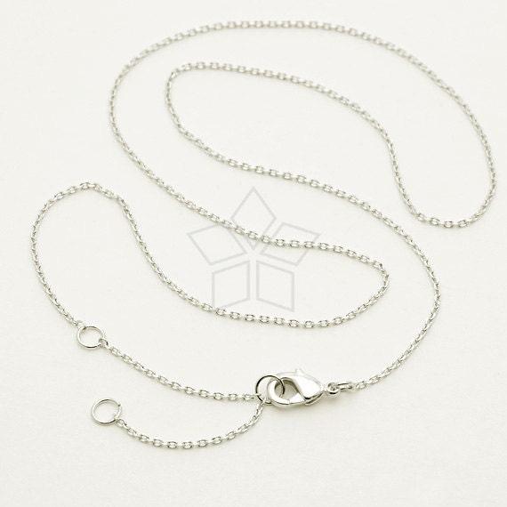 Fait sur commande / CH-124-OR / 100 Pcs - Ultra Fine Jewelry chaîne collier, 230-4DC, argent Rhodium plaqué laiton / 14,5 po - 16,5 po ajustables