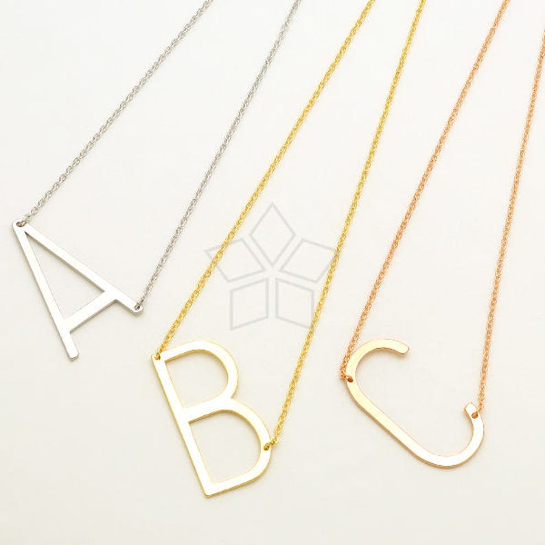 IN-805-RG  1 Pcs T Sideways Large Initial Pendant for Necklace Upper case Large Letter Pendant Rose Gold Plated Brass  17mm x 35mm
