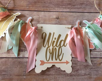 NEW!!  Wild One Birthday  | Peach Mint Gold | High Chair Highchair Banner photo prop First Birthday 1st Decoration