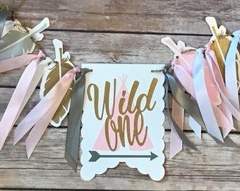 NEW!!  Wild One Birthday | Grey Pink Gold | High Chair Highchair Banner | decoration photo prop, first birthday, 1st