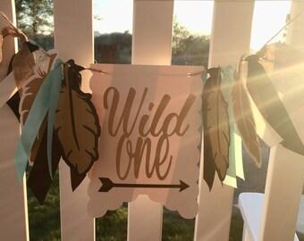 NEW!!  Wild One Birthday | High Chair Highchair Banner, decoration, photo prop, first birthday, 1st