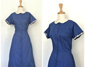 1950s Dress - blue cotton...
