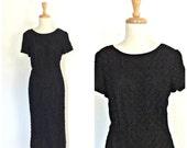 Vintage 1960s  LBD - black party dress - wiggle dress - 40s style - Korell - sheath - Medium - Large