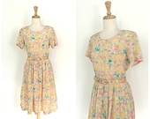 Vintage Swing Dress - full skirt - fit and flare - yellow dress - 80s fashion -  Floral Kung - silk dress - Medium