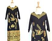 Vintage Boho Dress - hippie dress - indie - midi - black dress - ethnic - Medium