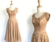Vintage 50s Party Dress - polka dot - fit and flare - wedding dress - cocktail dress - caramel - Small