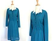 Vintage 1970s Dress - shirtwaist - knee length - work dress - preppy - long sleeve - Medium - Large