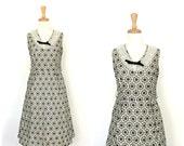 1950s dress - 50s swing dress - black and white - full skirt - 50s party dress - M L