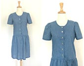 Vintage 1970s Blue Dress - cotton sundress - peasant dress - prairie dress - drop waist  - Medium