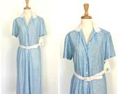 1940s Style Dress - 70s dress - shirtwaist dress - blue and white - NWT - spring summer dress - M L