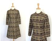 Vintage Mod 60s Dress - novelty - shift dress -space age - knee length - long sleeve - Small - Medium