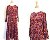 Vintage Boho Dress - 80s dress - midi - prairie - Neiman Marcus - peasant dress - M L