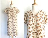 Vintage Paisley Dress - shift dress - sundress - cotton dress - Giselle - medium -  large
