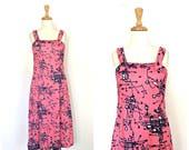 Vintage 70s Dress - swing dress - pink sundress - jumper - abstract - midi - disco dress - womens pink dress - M L