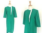 Vintage 1980s Dress - green dress - linen - Leslie Fay - work dress - aline - shirtwaist - shift dress - knee length - Medium - Large