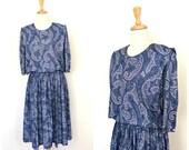 Vintage 80s dress - paisley - below knee - work dress - full skirt - pleated - Dynasty - career - blue dress - M L