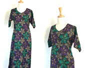 Vintage Tea Dress - 70s dress - festival - midi - beach wedding - Hawaiian - resort wear - cotton sundress - Medium