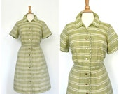 Vintage 60s Dress - swing dress - fit and flare - green - rockabilly - knee length - Large