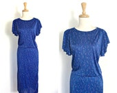 Vintage 40s Style Dress - flutter sleeve - 1970s dress - pullover - disco dress - club dress - abstract - M L
