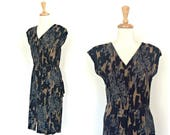 Vintage 80s Party Dress - club dress - fitted - knee length - disco dress - Medium