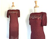 Vintage Red Shift Dress -...
