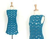 Vintage Blue Crochet Mini...