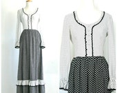 Vintage 70s Maxi - 1970s dress - polka dot - leslie fay - black and white dress - bridesmaid dress - Medium