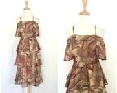 Vintage Party Dress - 70s dress - tiered dress - disco - party dress - club dress - spaghetti strap - knee length - studio 54 - S M