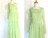 Vintage Boho Hippie Dress -1960s maxi - bridesmaid - wedding dress - sheer sleeve - peasant - M L