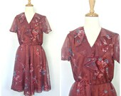 Vintage 70s Dress - full skirt - party dress - disco dress - fit and flare - floral - small