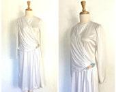 Vintage 1970s Dress - Grecian dress - disco - studio 54 - bombshell - white party dress - S M