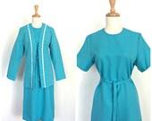 1970s Secretary Dress - suit dress - shift dress - sheath - polka dot jacket - career dress - M