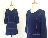 Vintage Blue Drop Waist Dress - 1960s mod - shift dress - long sleeve - Small - Medium