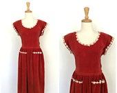 Vintage 50s Party Dress- 50s dress - fit and flare - swing dress - red velveteen - midi - M L