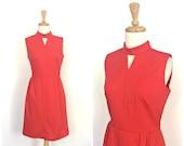 Vintage 70s Red  Dress - cut out dress - shift dress - sheath - bombshell dress - sleeveless - S M