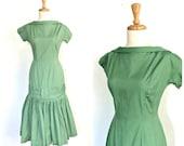 1960s Drop Waist Dress - cocktail dress - drop waist - mermaid - fit and flare - Small - Medium