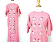 Vintage Maxi Dress - 60s dress - embroidered - hippie wedding dress - Bia - pink summer dress - small medium