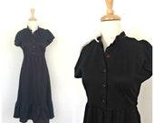 Vintage 70s Fit & Flare Dress - lbd - goth - disco dress - crochet - William Lawrence - festival - small - medium