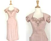 Vintage 1950s Wiggle Dress - linen dress - light pink - beaded cocktail dress - Moygashel - pink wedding dress - xs small
