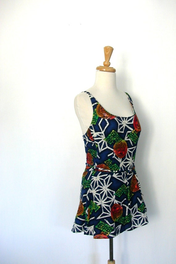 Vintage Maillot Swimsuit - 70s swimwear - skirt s… - image 3