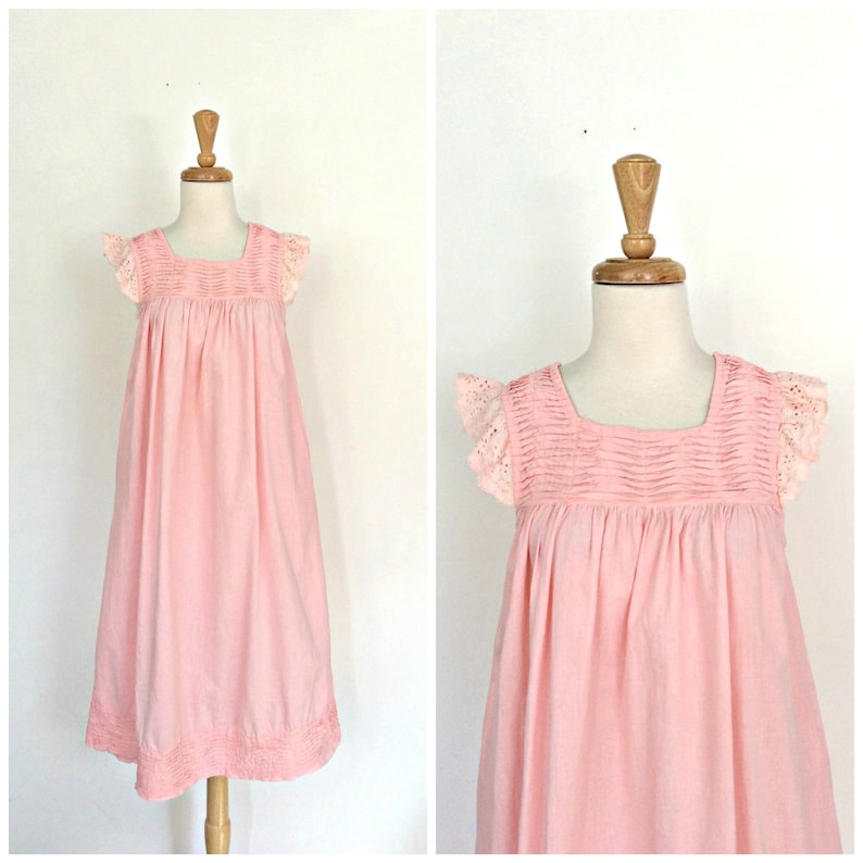 4a54948522 Vintage Pink Sundress beach cover up rusche eyelet dress   Etsy