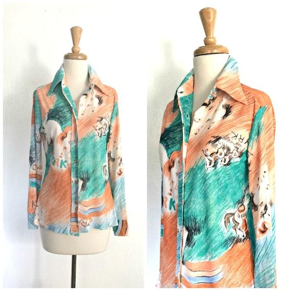 Vintage 60s  Shirt - 1960s blouse - Mr Dino - nove