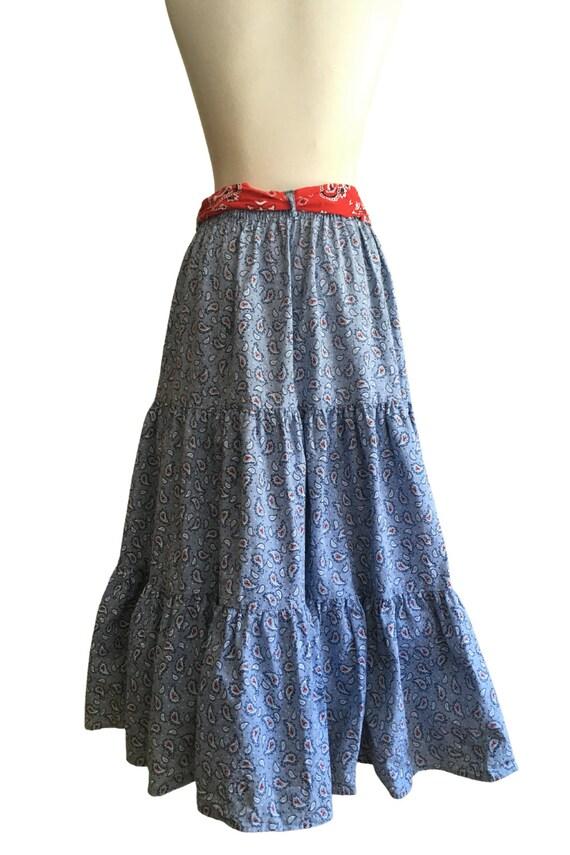 Vintage Prairie Skirt - cottage core - paisley - … - image 6