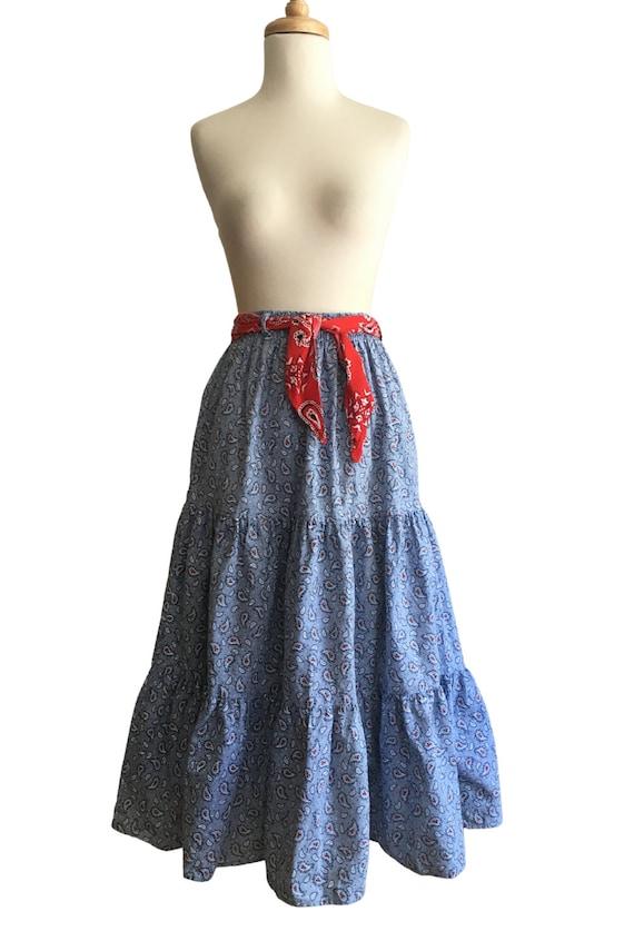 Vintage Prairie Skirt - cottage core - paisley - … - image 2
