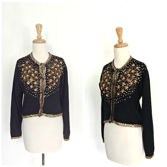 Vintage 50s Sweater - 50s cardigan - black sequin