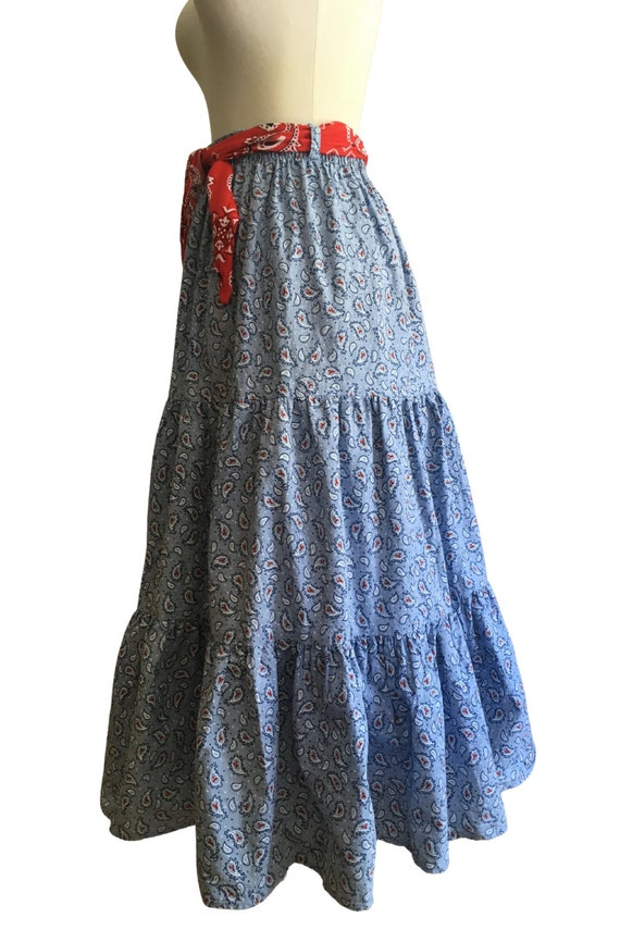 Vintage Prairie Skirt - cottage core - paisley - … - image 5