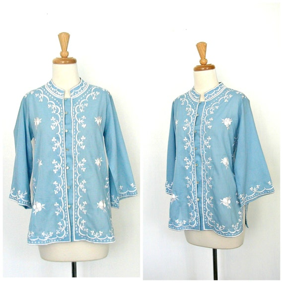 Vintage 60s Hippie Shirt - boho blouse - embroider